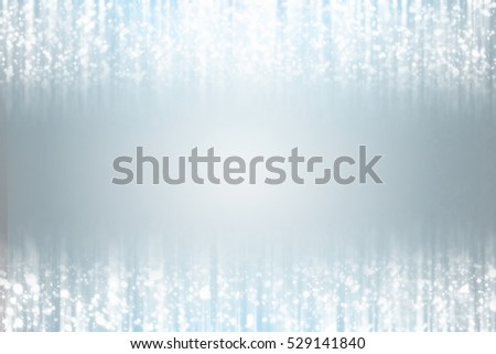 Snow flakes  bokeh or glitter lights festive silver  background. Christmas abstract template #529141840