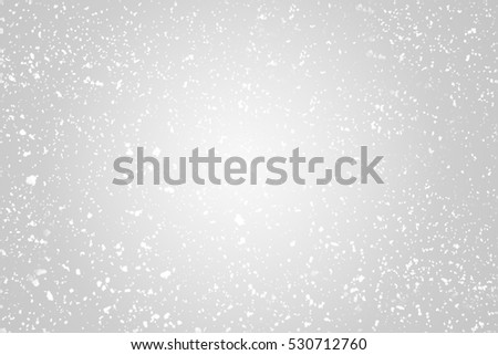 Snow flakes  bokeh or glitter lights festive silver background. Christmas abstract template #530712760