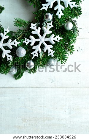 Snow flakes Christmas wreath.Image of Christmas and winter season.