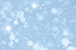 SNOW FLAKES FALLING ON BLURRED LIGHTS BACKGROUND, FROSTY WINTER OR CHRISTMAS PATTERN