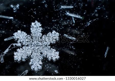 Snow flakes macro #1330016027