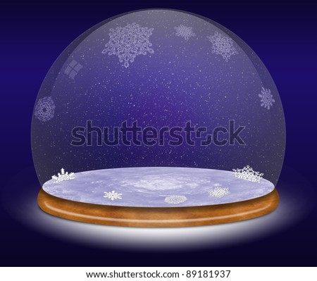 Snow globe against a blue background