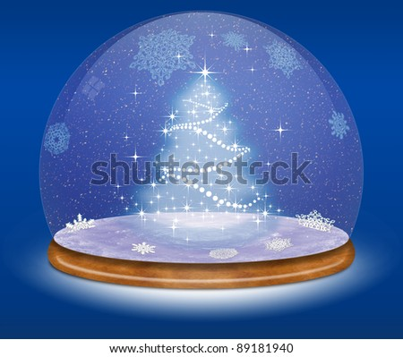 Snow globe and Christmas tree against a blue background
