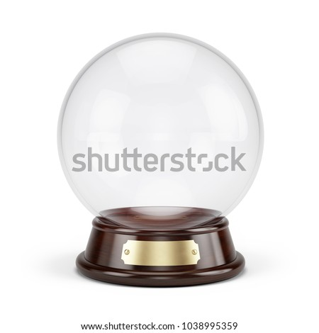 Snow globe ball or Magic ball isolated on white. 3d rendering