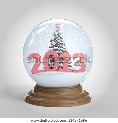 snow globe isolated with christmas tree and a big 2013 as new year present clipping path included