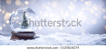 Snow Globe Sparkling In Shiny Background
