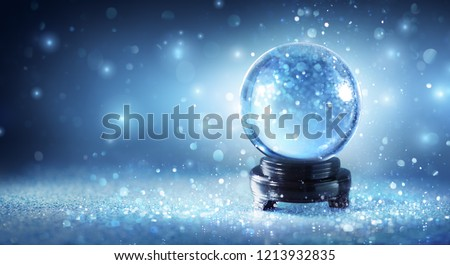 Snow Globe Sparkling In Shiny Background - Magic Christmas - Shutterstock ID 1213932835