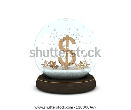 Snow globe with golden dollar and snowflakes isolated on white background