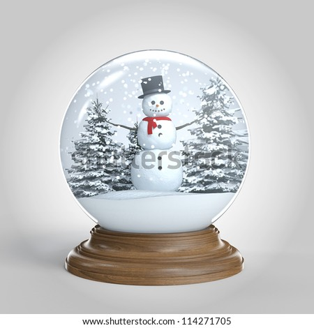 snow globe with snowman on winter scene isolated on white background and with clipping path