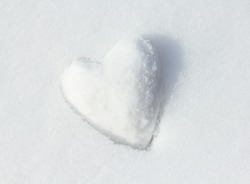 Snow Heart. Shallow depth of field.