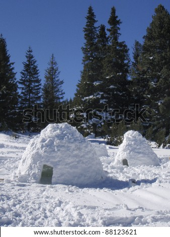 Snow igloos in a winter mountain