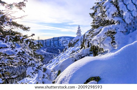 Snow in the mountains in winter. Winter snow in mountains. Snowy winter mountains. Winter snow scene