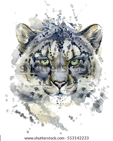 Snow Leopard watercolor illustration #553142233