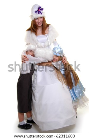 Snow Maiden with children in carnival suits