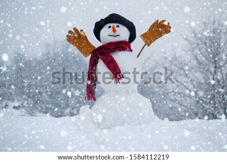 Snow man. Snowman. Snowman isolated on snow background. Snowman in a scarf and hat. Happy funny snowman in the snow