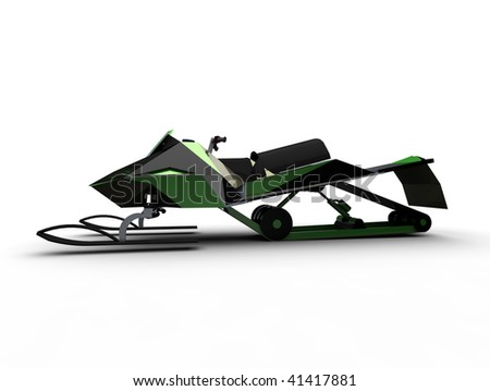 Snow mobile, side view -  isolated on white