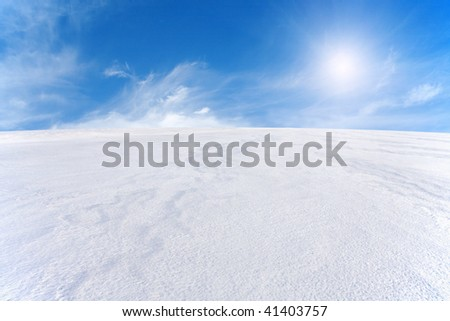 snow mountain and blue sky