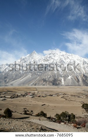 Snow mountain and blue sky at southwest China