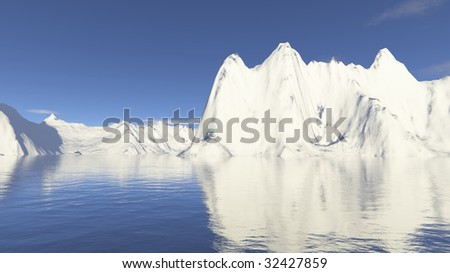 snow mountain and water