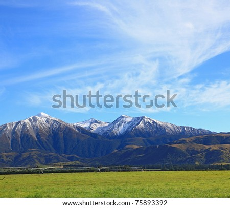 snow mountain of southern alpine alps in New Zealand with sunny sky