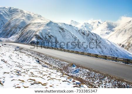 snow mountain road #733385347