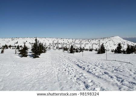 Snow mountain view from Karkonosze, Poland.
