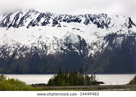 Snow Mountains Close Up Trees, Island, Ocean and Coastline, Seward Highway, Anchorage, Alaska