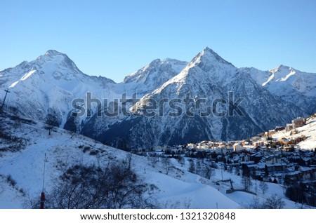 Snow mountains town #1321320848