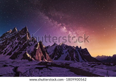 Snow mountains with dramatic starry evening galaxy Beautiful HD wallpaper
