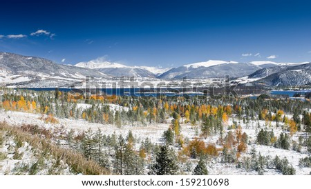 Snow on Aspen Trees and Lake Dillon in Summit County, Colorado with View of Fourteen-Thousand Foot Peaks - including Torreys Peak and Grays Peak, the Highest Peak on the Continental Divide