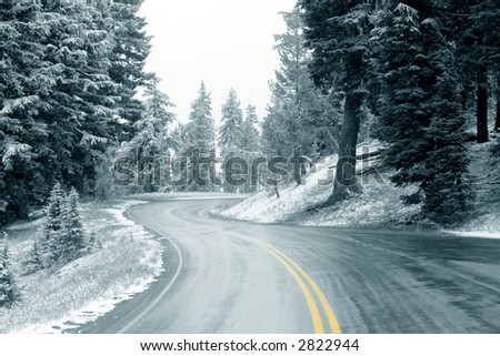 Snow on Highway, Oregon - stock photo