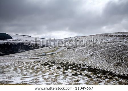 Snow on the Mynydd Epynt hills, Wales