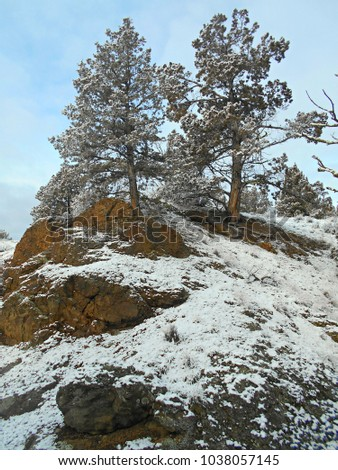 Snow on the Rocky Hillside - Winter scene by Henderson Flat Campground - Crooked River National Grassland - near Terrebonne, OR