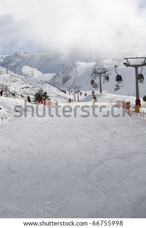 snow on the ski slope in the Sierra Nevada in Andalucia in southern Spain