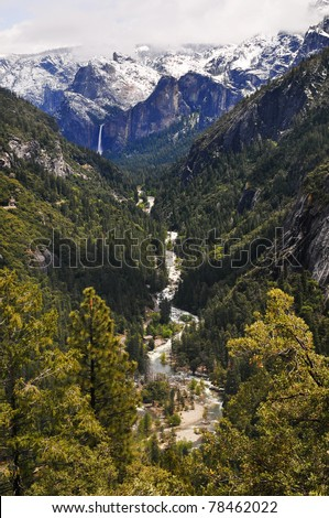 Snow on top of the mountain melts off and falls off the mountain as a water fall as it then transforms into a river and stream going into the forest. Yosemite national Park, California. #78462022