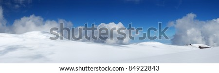 Snow panorama in high mountain. Natural composition