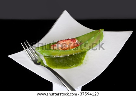 Snow Pea & Lobster Appetizer - stock photo