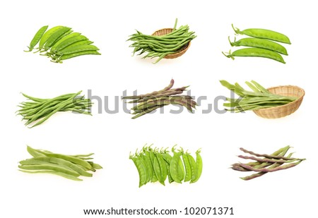 Snow peas and kidney bean isolated on white background