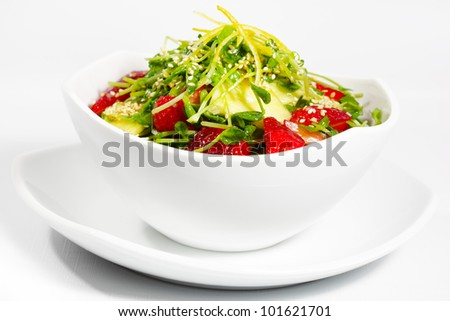 Snow peas Sprout Salad with strawberry and pineapple