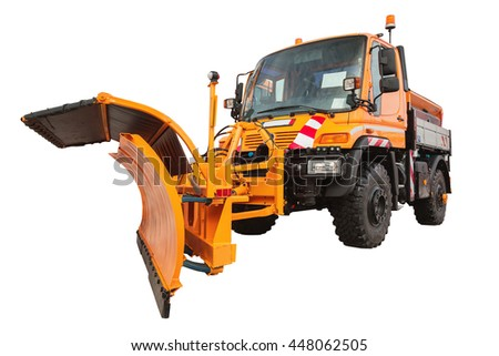 Snow plow removal machine isolated on white background with clipping path
