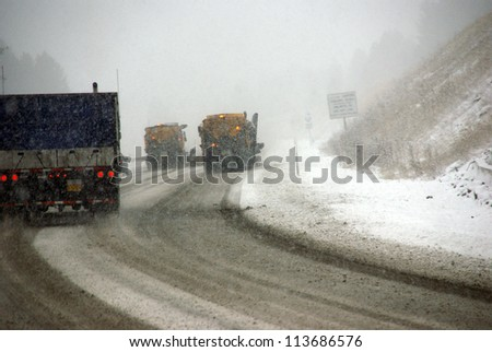 Snow plows keep the road open  during winter storm in Eastern Oregon