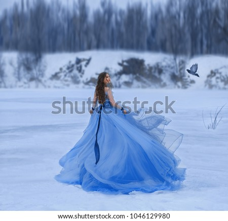 Snow Queen in a luxurious, lush dress with a long train. A girl walks on a frozen lake covered with snow. A postal bird flies by her side and she looks with hope in expectation of good news. Art.
