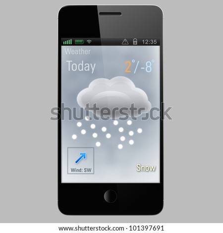 snow report  icon on a screen of smart phone