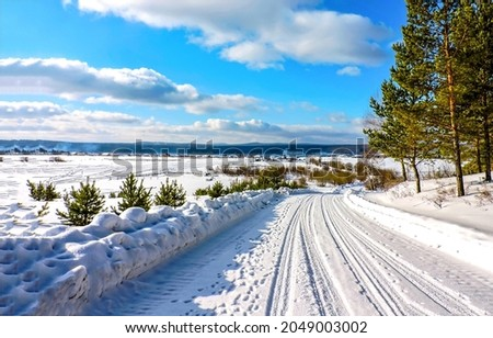 Snow road along the winter forest. Winter snow road. Road in winter snow scene