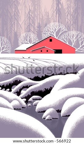 Snow Scene with Barn / Illustration / S-004