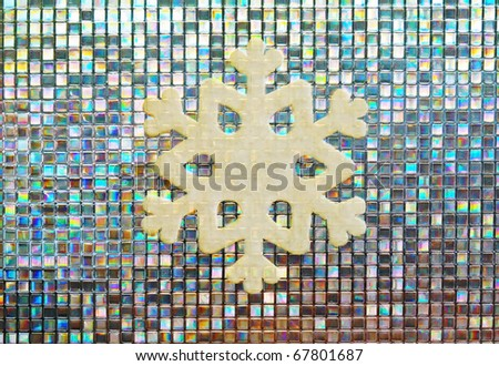 snow shape on colorful glass mosaic