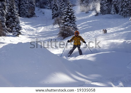 Snow Skier in winter forest in mountains