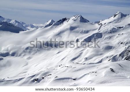 Snow slopes for freeride. Caucasus Mountains, Elbrus region.