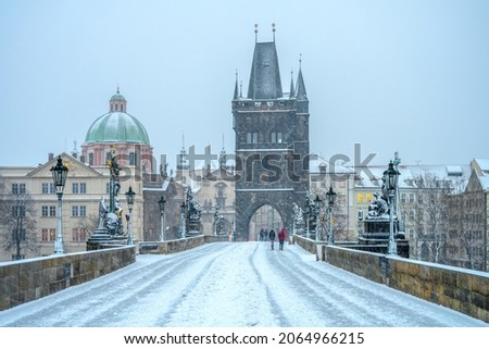 Snow storm on Charles Bridge in Prague