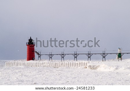 Snow storm over South Haven South Pier, South Haven, Michigan, USA